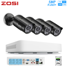 ZOSI H.265+ 8CH CVBS AHD CVBS TVI Super HD 5MP Security Camera System With 2TB HDD and Weatherproof CCTV Video Cameras DVR Kit