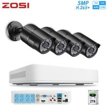 ZOSI H.265 + 8CH CVBS AHD CVBS TVI süper HD 5MP güvenlik kamera sistemi 2TB HDD ve hava koşullarına dayanıklı CCTV Video kameralar DVR kiti