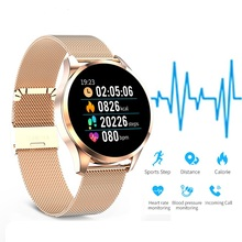 Luksusowe smart watch mężczyzna kobiet ciśnienia krwi wiadomość połączeń przypomnienie Smartwatch Monitor tętna Fitness Tracker dla IOS Android tanie tanio SANDA Moda casual 3Bar ALLOY Składane zapięcie z bezpieczeństwem Cyfrowy ROUND 11 8mm Papier PS7094 Smart watch women watch men watch