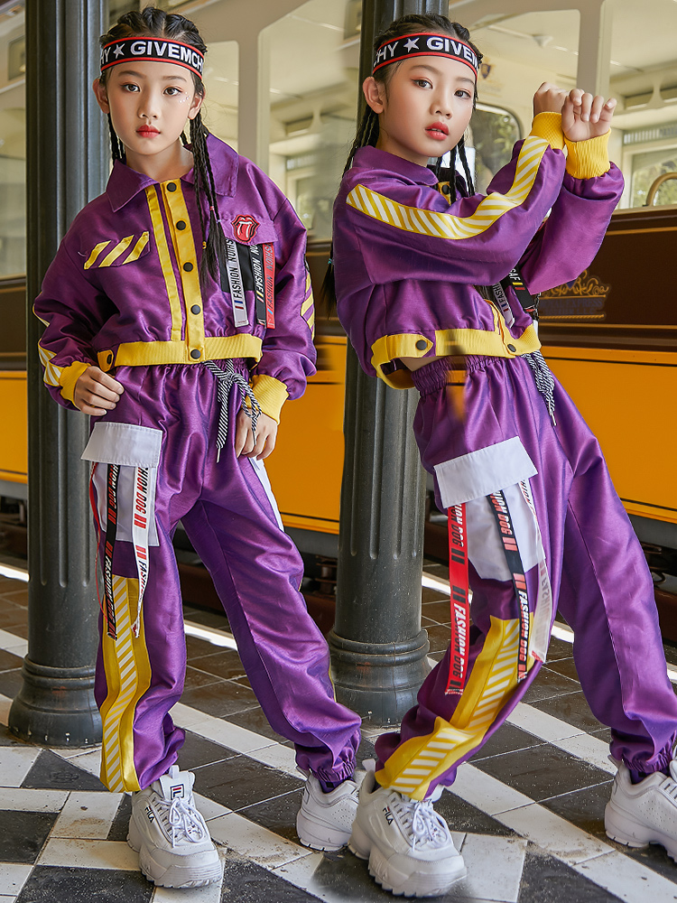 New Jazz Dance Costume Children'S Street Dance Purple Suit Girls Hip-Hop Drum Clothing Performance Stage Show Dance Wear DQS2904
