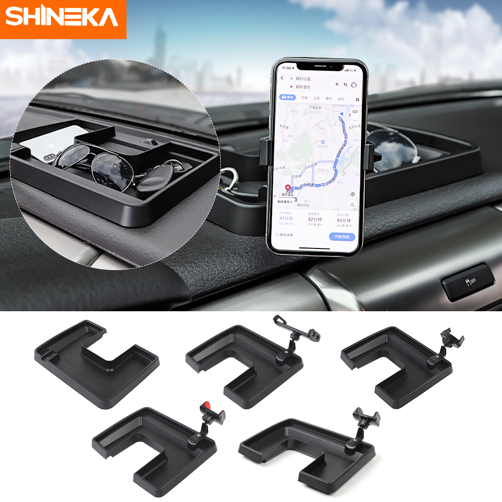 SHINEKA Auto Mobile Phone Stand For iPad Cellphone Holder For Ford F150 2009-2014 Raptor 360 Degree ABS Storage Box GPS Holder