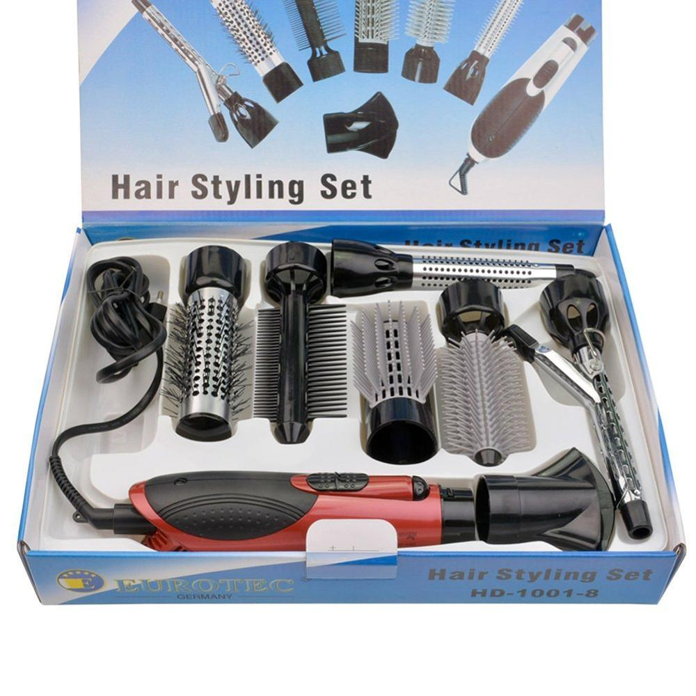 7 In 1 Hot Air Brush Set Professional Hairdryer Hair Straightening Curling Brush Interchangeable Detachable Variety Styling