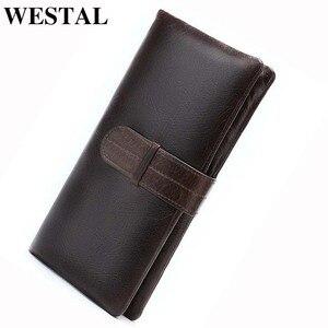 Image 1 - WESTAL hommes portefeuille en cuir véritable sac à main pour hommes pochette mâle longs portefeuilles pour téléphone porte monnaie hommes sacs dargent porte cartes 6018