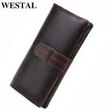 محفظة رجالي من الجلد الطبيعي من WESTAL للرجال محافظ طويلة للرجال مزودة بقبضة للهاتف محفظة عملات معدنية للرجال حقائب حمل بطاقات 6018