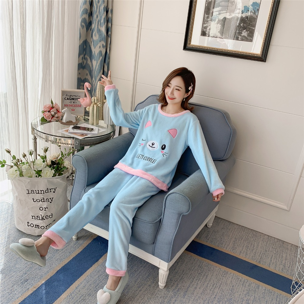 Betyline 2019 New Winter Pajamas For Women Sleepwear Warm Flannel Long Sleeves Pajamas Cute Animal Homewear Thick Homewear 179