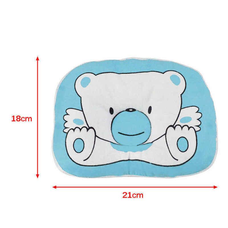 Almohada Anti-rollo de bebé recién nacido Oso de dibujos animados cojín de memoria de espuma contra el síndrome de la cabeza plana para cuna cama de cuna soporte para el cuello