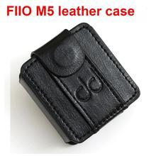FiiO M5 Leather case, muziekspeler mp3 beschermhoes, DAP Leather cover (met Elastische Lus Band) zwart, Horloge band gebruik.