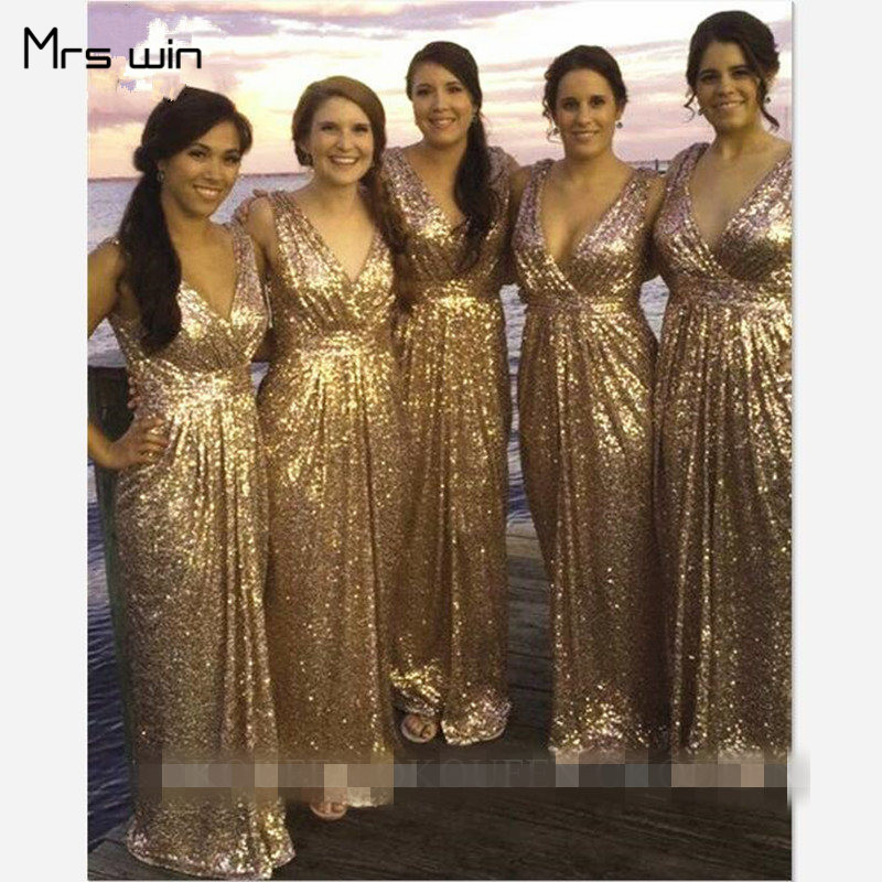 Mrs Win Bridesmaid Dresses Elegant Gold Sequins Wedding Guest Dress Long Sheath V-neck Plus Size Vestido Madrinha 2020 HR105