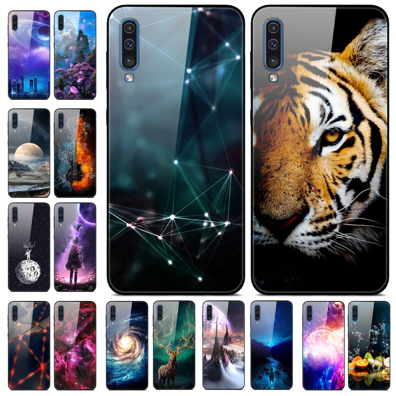 For <font><b>Samsung</b></font> <font><b>Galaxy</b></font> <font><b>A50</b></font> Case Tempered Glass Back Cover Phone For <font><b>Samsung</b></font> <font><b>A50</b></font> A505 <font><b>A505F</b></font> SM-<font><b>A505F</b></font> Silicone Case 6.4 coque bumper image