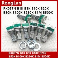 Месте качество потенциометр с точной регулировкой RK097N 097 вертикальный косолапый один B1K B5K B10K B20K B50K B100K B250K B1M B500K
