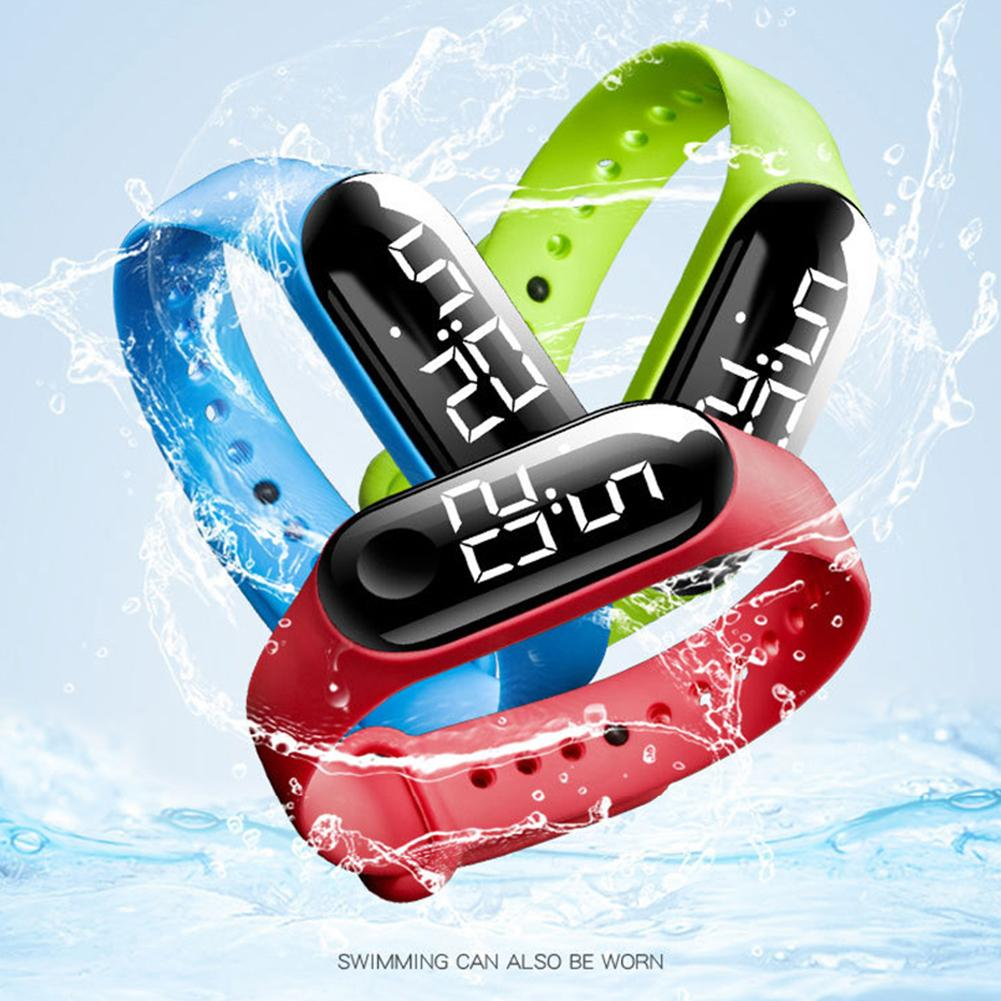 Men Women Casual Sports Bracelet Watches LED Electronic Digital Candy Color Silicone Adjustable Wrist Watch For Children Kids