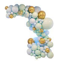 124pcs/set Macaron Blue Pastel Balloons Garland Arch Kit Confetti Birthday Decor 634E
