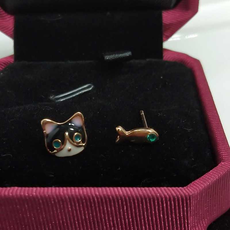 2019 Đơn Giản Thời Trang Trang Sức Cao Cấp Màu Xanh Pha Lê Mèo Và Cá Bất Đối Xứng Bông Tai Nữ Boucle D'oreille Femme