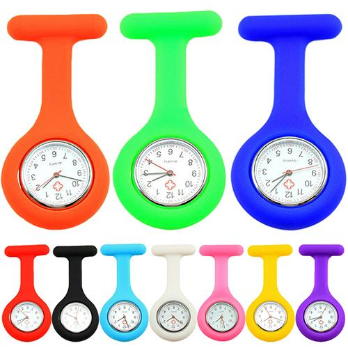 Casual Women Fob Pocket Watch Cute Silicone Clock Nurse Watch Brooch Fob Pocket Tunic Quartz Movement Watch