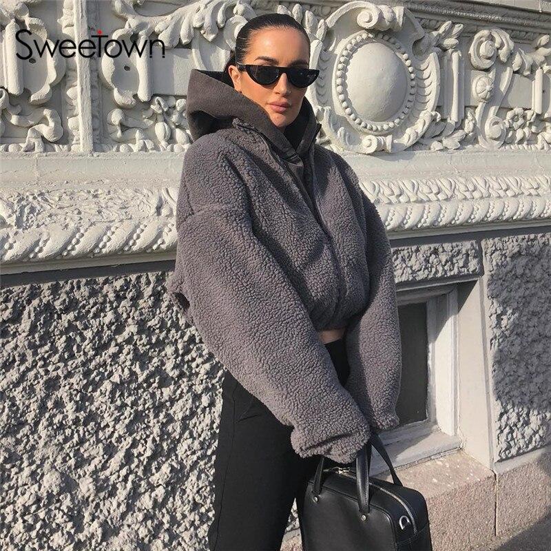 Sweetown Winter Fashion Gray Solid Teddy Faux Fur Coat Women Zipper Turtleneck Long Sleeve Autumn Jackets Coats Warm Outfits