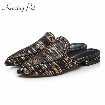 Krazing pot 2020 retro gladiator metal design genuine leather leisure outside slipper slip on pointed toe summer women shoes L02