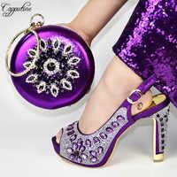 Niesamowite fioletowy sandały na wysokim obcasie z torebka najnowsze buty i zestaw torebek z kryształowymi kamieniami 688-5, wysokość obcasa 12.5cm