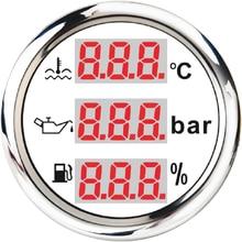 Universal 3 in 1 Multi Function Digital Gauge New 52mm Waterproof Water Temp Oil Level Oil Pressure With Alarm 9 32V