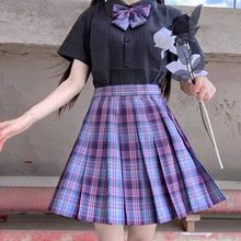 Feminino roxo preto gótico plissado xadrez saia verão de cintura alta coréia harajuku coréia bonito sexy mini-linha saias cosplay punk