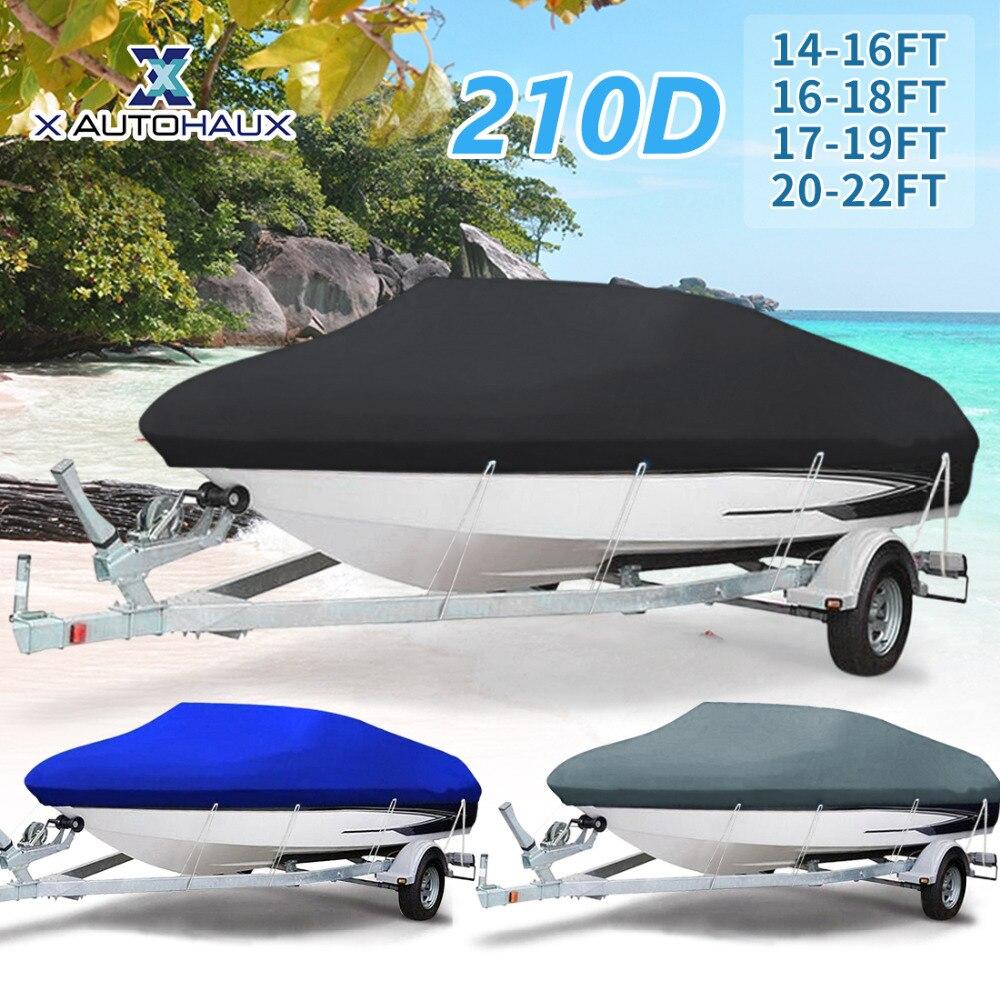 X AUTOHAUX 210D 540/570/700 X 280/300CM Trailerable Boat Cover Waterproof Fishing Ski Bass Speedboat V-shape Black Boat Cover