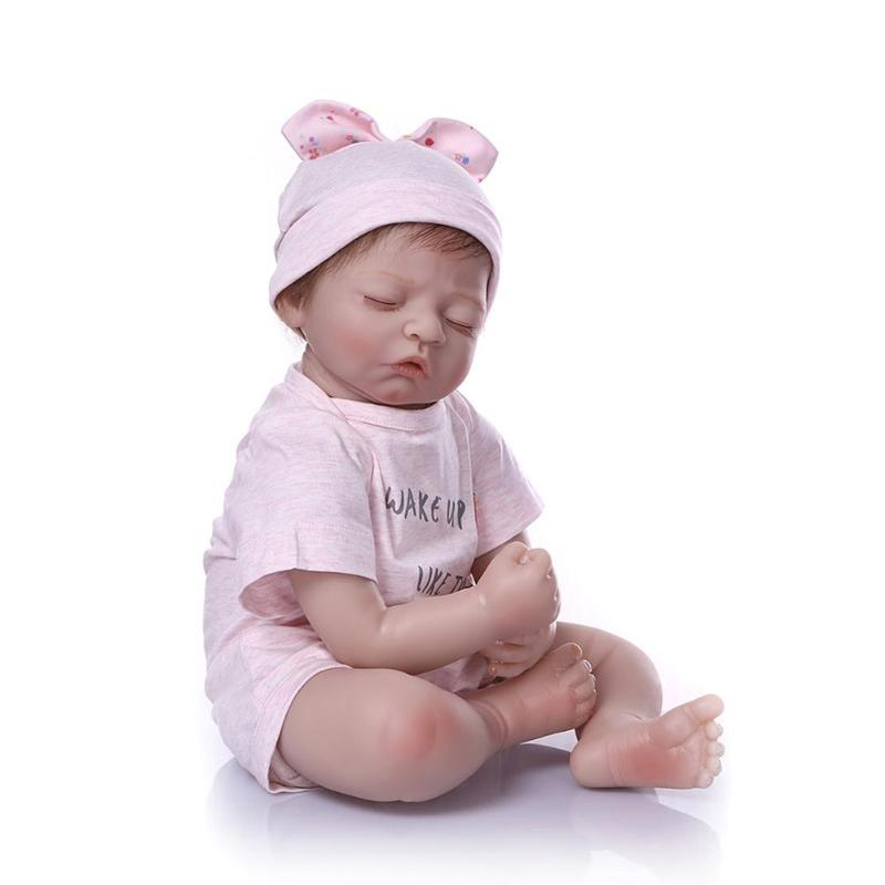 20/<font><b>24inch</b></font> Beautiful Simulation Doll Full Silicone Baby Girls Newborn Baby Doll in Pink Sweet Dress Beetle Dress Christmas Gift image