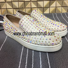 Colorful Low Top Rivets Studded Women Loafers Runway Slip On Round Gladiator Shoes Pink Genuine Leather Casual Shoes Flats(China)