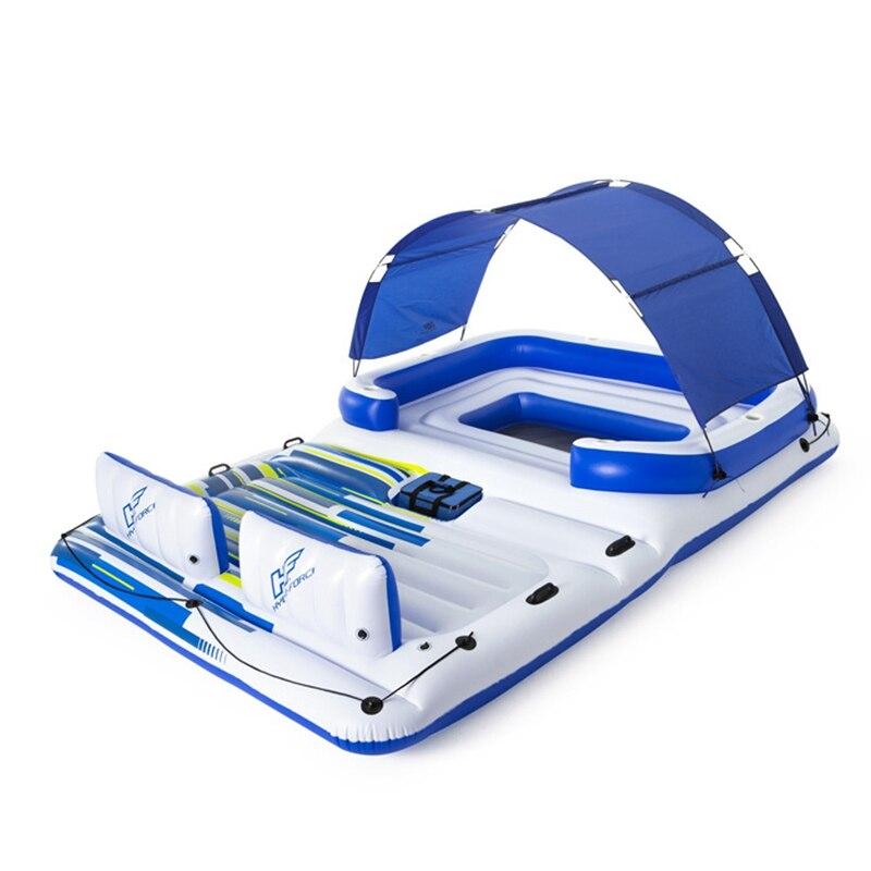 Flutuante com Cobertura Brinquedos para Água Piscina Tropical Inflável Gigante Pessoas Barco Flutuante Solar Diversão Jangada 6