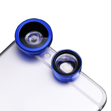180 Degree Lens 3-in-1 Clip Wide Angle Lens Macro Lens Smartphone LHB99 w 67 3 in 1 180 degree fish eye wide angle macro lens for iphone ipad silver black