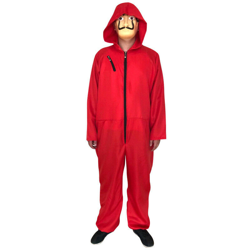 Men Halloween Costume Money Red Hoodies Long Sleeve Jumpsuit Playsuit Romper Hooded Cosplay Clothes For Women Autumn Plus Size image