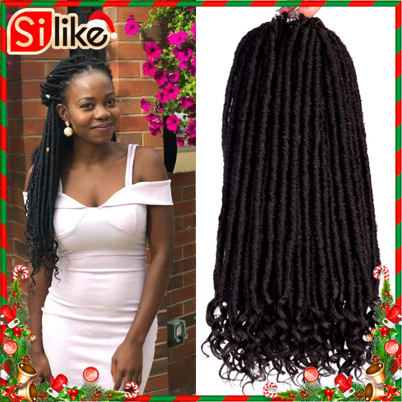 Silike Goddess Faux Locs Crochet Braids 14 18 Inch Soft Natural Pre Looped Synthetic Braiding Hair Extension 24 Stands/Pack