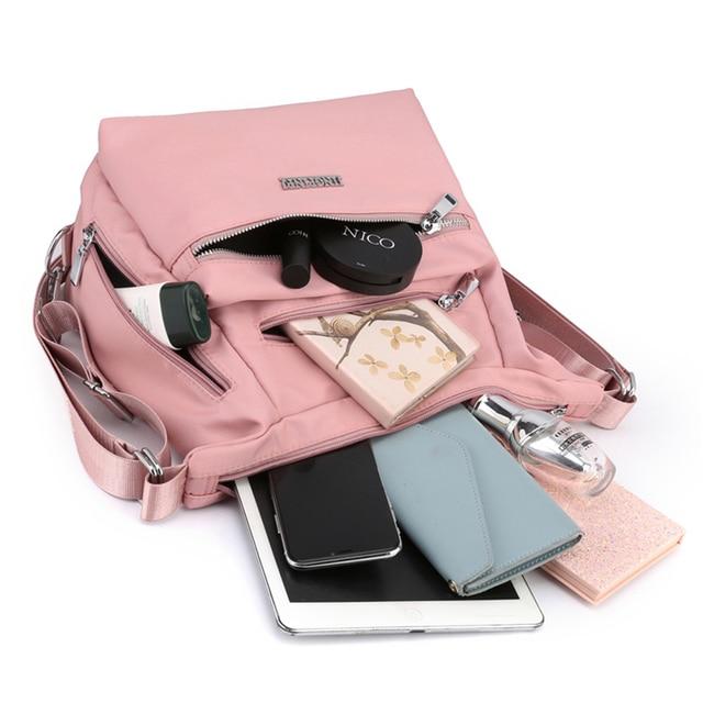 2020 Fashion Woman Shoulder Bag Nylon Waterproof Multi-pocket Messenger Bag Solid Zipper Multifunctional Travel Handbag Purses 6