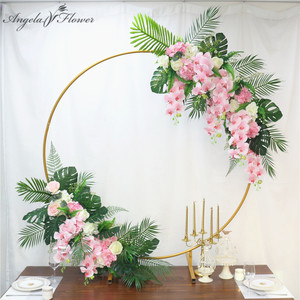 Image 2 - Homemade creative wedding arch with decor flower row DIY orchid turtle leaf rose peonies table flower garland flower arrangement