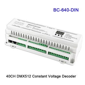 Wholesale 24/32/40CH BC-624-DIN/BC-632-DIN/BC-640-DIN DMX512/8bit/16bit Input DC12V-24V RJ45 Connect LED RGB/RGBW Strip Decoder
