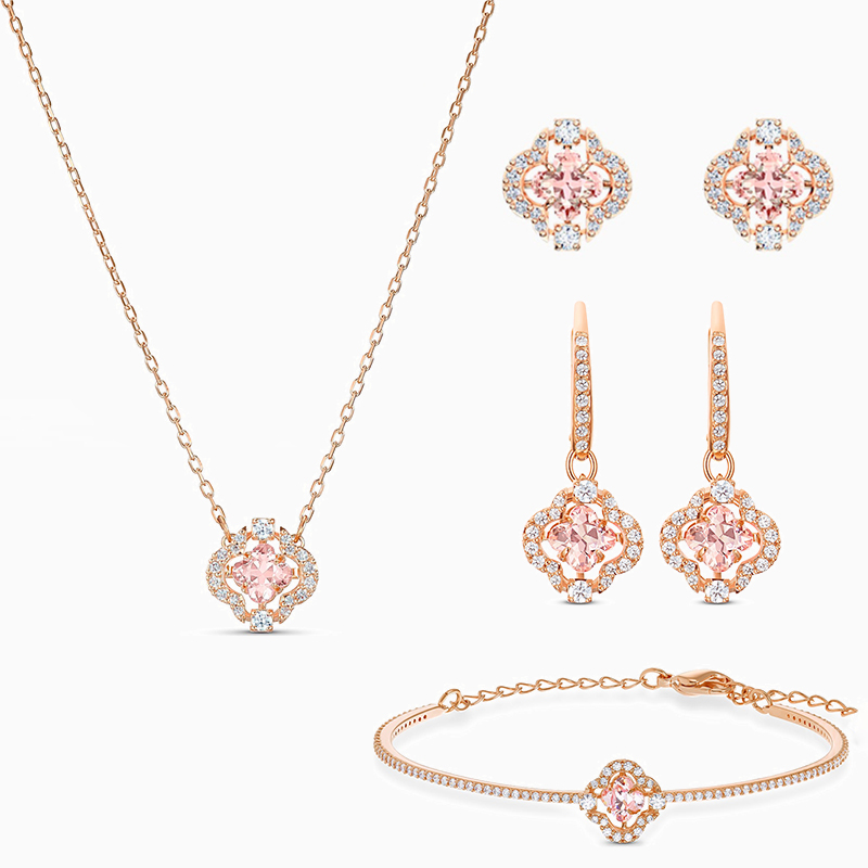 2020 Fashion New Exquisite Rose Gold SPARKLING DANCE Pink Clover Shape Necklace Jewelry Set for Girlfriend's Best Birthday Gift