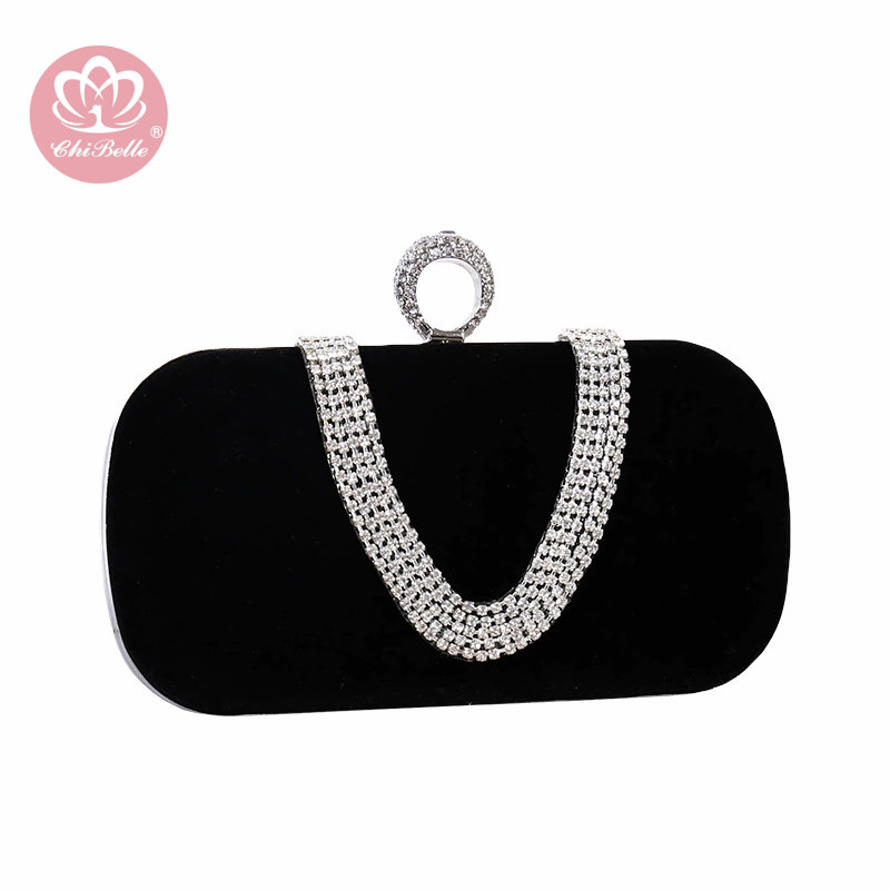 Chi Belle cristal miroitant strass mini sac à main dîner fête personnalisé couleur velours matériel diamant paillettes dame pochette