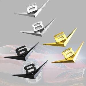 Image 2 - Diseño de coche 3D Metal V6 V8 3D cromado coche traseras pegatinas emblema insignia etiqueta para audi A3 A4 A7 mercedes Accesorios