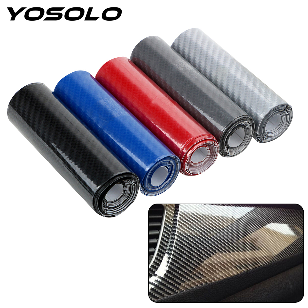 YOSOLO 10cmX152cm DIY 5D High Glossy Vinyl Film Wrap Motorcycle Car Carbon Fiber Car Styling Interior Carbon Fiber Film(China)