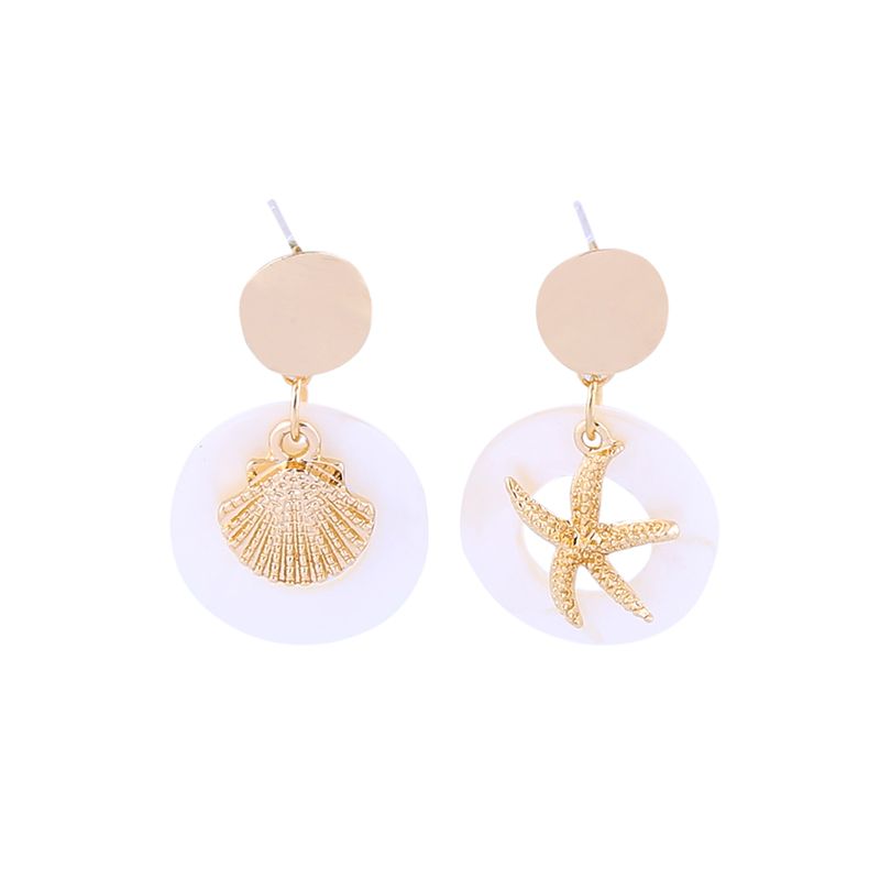 $1Ocean Series Drop Earrings Shell Acrylic Gold Color  Earrings For Women Fashion Jewelry Wholesale