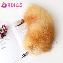 Detachable Anal Plug Real Fox tail Smooth Touch Metal Butt Plug Tail Erotic Anal Sex Toys for Woman Couples Adult Sex Products