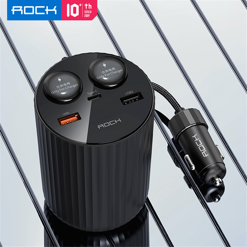ROCK Dual USB Car <font><b>Charger</b></font> Type C QC4.0 PD3.0 <font><b>100W</b></font> 2 Cigarette Splitter <font><b>Fast</b></font> Charging For iPhone Xiaomi 5A QC3.0 image