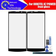Oukitel K7パワーフロントガラススクリーンレンズ100% オリジナルフロントタッチスクリーンガラスアウターレンズK7電源電話 + ツール + 接着剤
