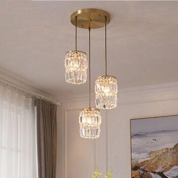 All Copper Crysta Pendant Lights Postmodern Light Luxury Pendant Lamp For Dining Room Bedroom Bar Hanglamp Indoor Decorations