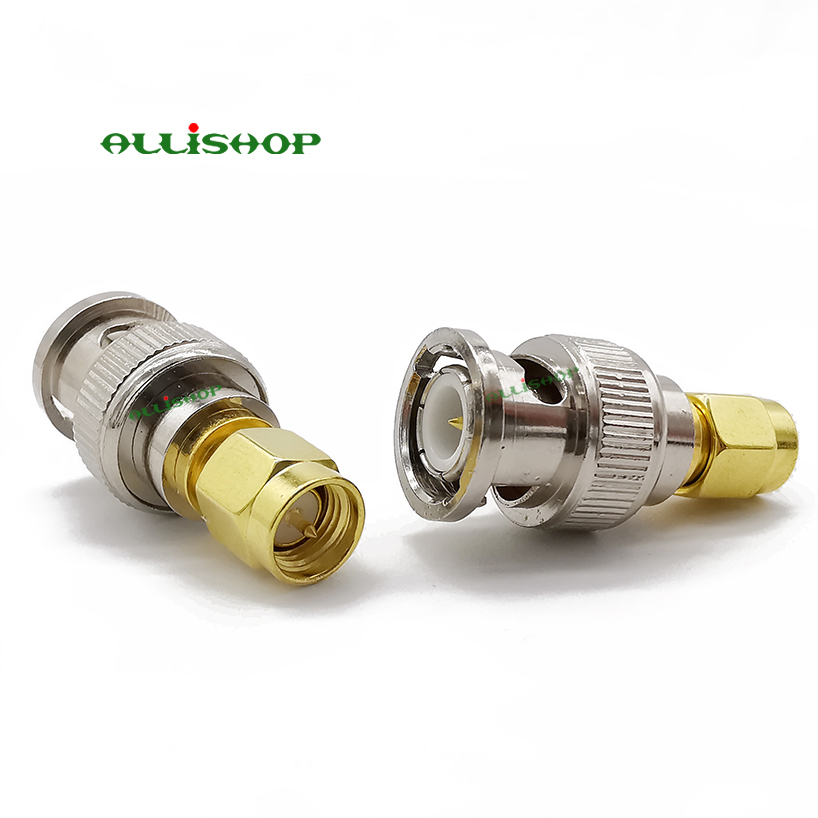 5 COAX ADAPTERS BNC MALE TO SMA MALE RF CONNECTOR NEW