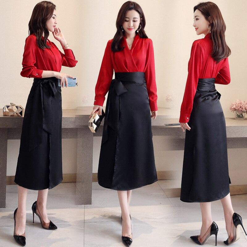 2019 Spring Clothing New Style WOMEN'S Dress Korean-style V-neck Fashion Chiffon Shirt Slim Fit A Slow Elegant Skirt Two-Piece S