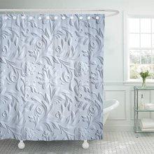 Cortina de ducha de tela de poliéster resistente al agua de 72x78 pulgadas con estampado Floral 3D Clásico en relieve gris en relieve