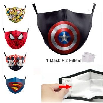 Cute Kids Face Mask Pm2.5 Filter Mask Cartoon 3D Print Mask Black Spiderman Children Protective Fabric Washable Reusable Masks