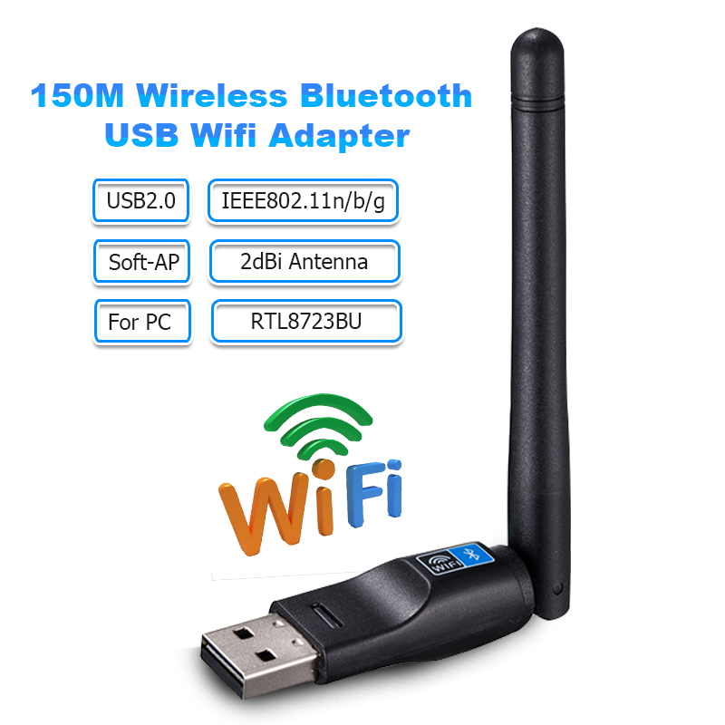 Wifi Bluetooth Adapter 150Mbps USB Wifi Antenna Adapter 2dBi RTL8723BU Wireless Network Work Card Wifi Receiver Transmitter