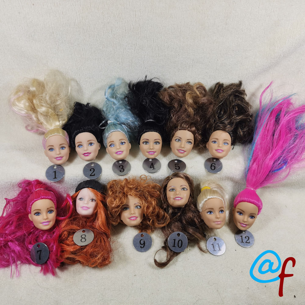B20-22 Original Foreign Trade European Beauty1/6 OOAK NUDE Doll Head Mussed Long Hair For DIY Soft PVC Head  90%NEW