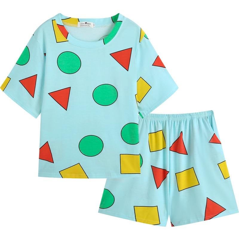 Pijama Sin Chan Women's Pajamas for Woman Summer Sleepwear Suits with Shorts Pajama Set Home Clothes Pyjamas Sinchan