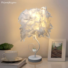 Feimefeiyou Bedside Reading Room Sitting Room Heart Shape Feather Crystal Table Lamp for bedroom Light art deco home planetarium